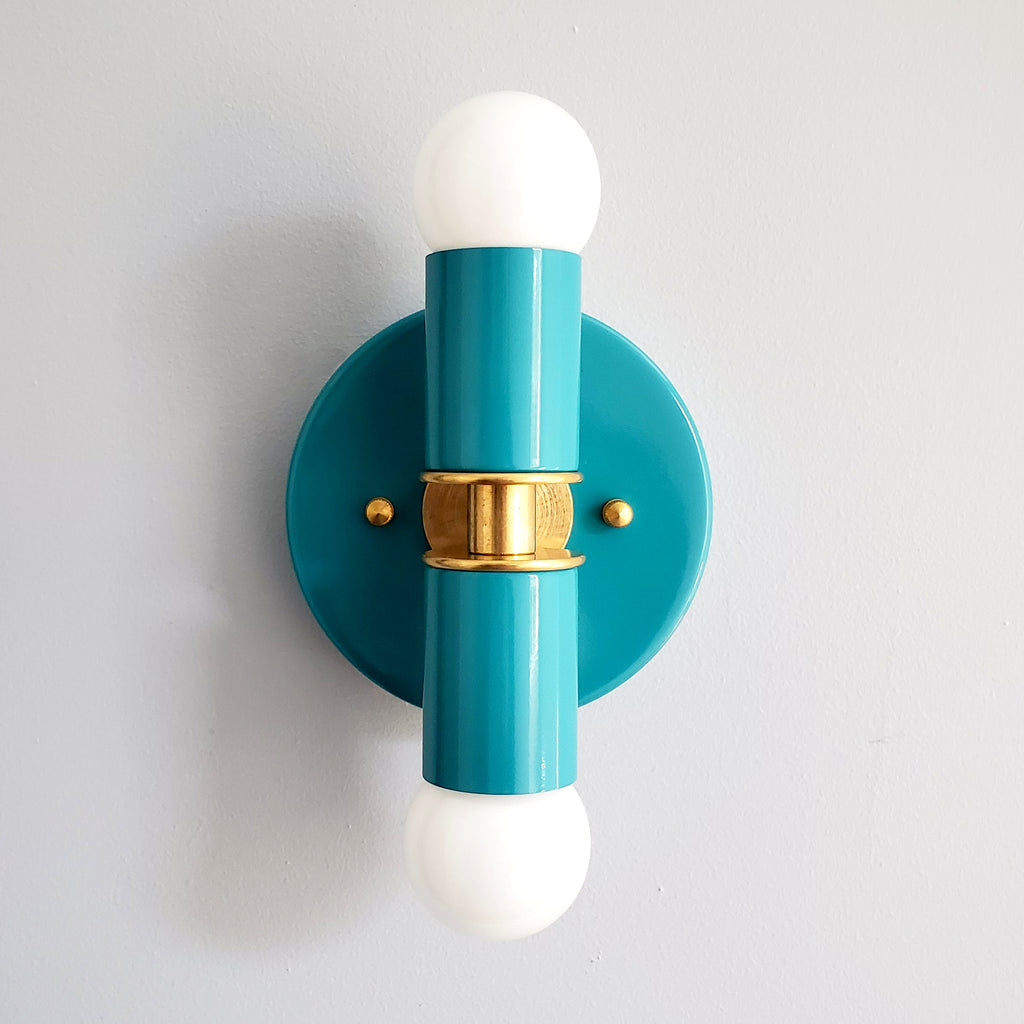 Turquoise Teal Blue and Brass two light wall sconce or flush mount ceiling light fixture in a bright vibrant color and mid century modern or art deco design