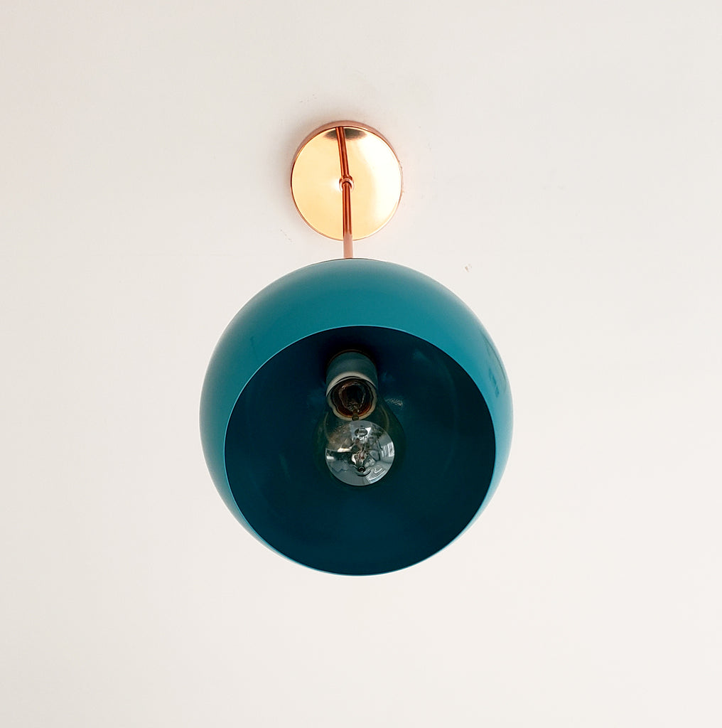 Teal and Copper midcentury modern inspired large globe kitchen pendant lighting