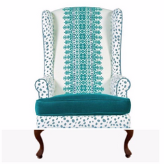 turquoise and white traditional tribal modern wingback sitting chair modern home traditional decor