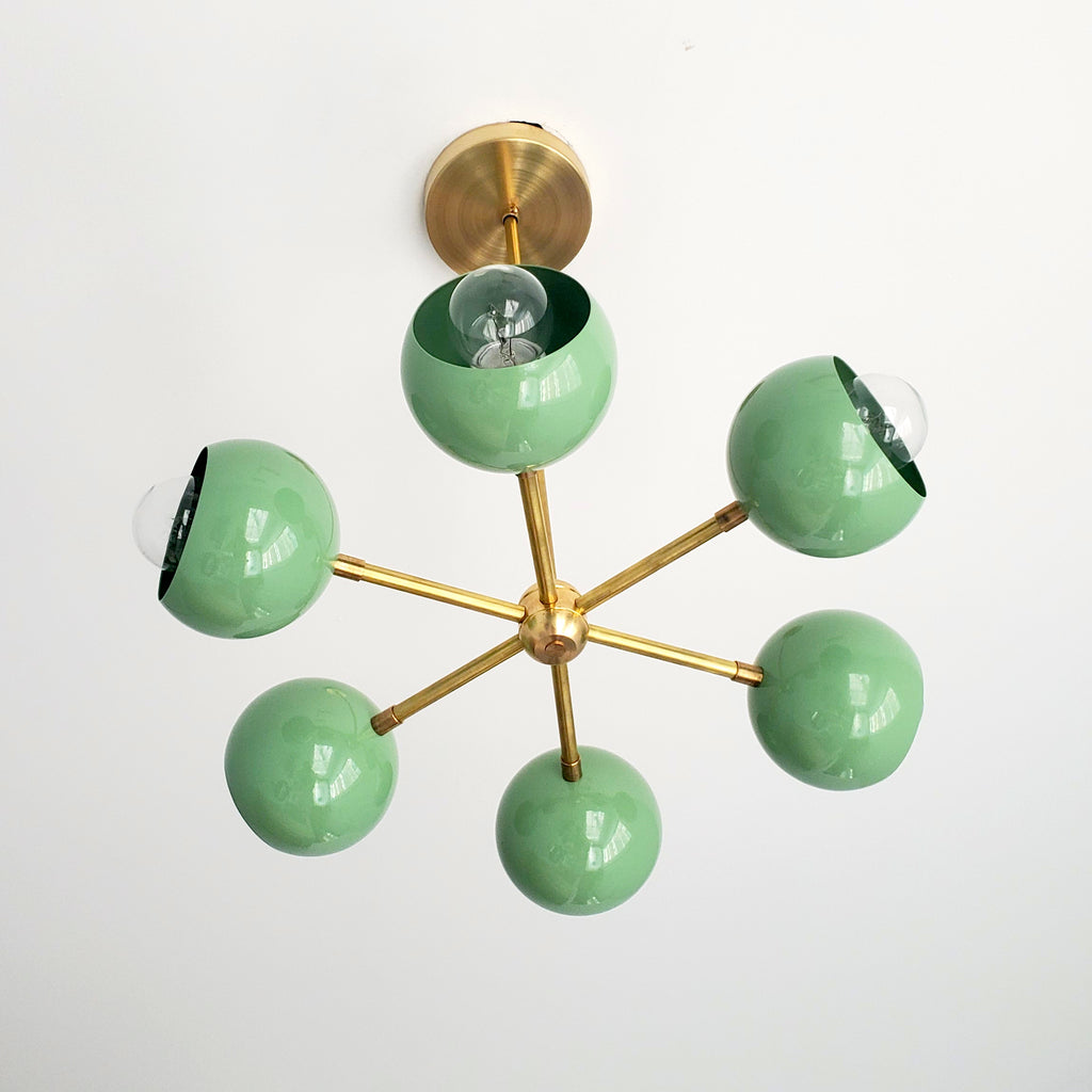 Green & Brass Mid Century Modern small chandelier or pendant