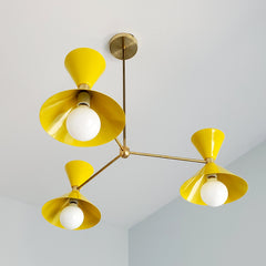 Yellow and Brass MCM style Cone chandelier