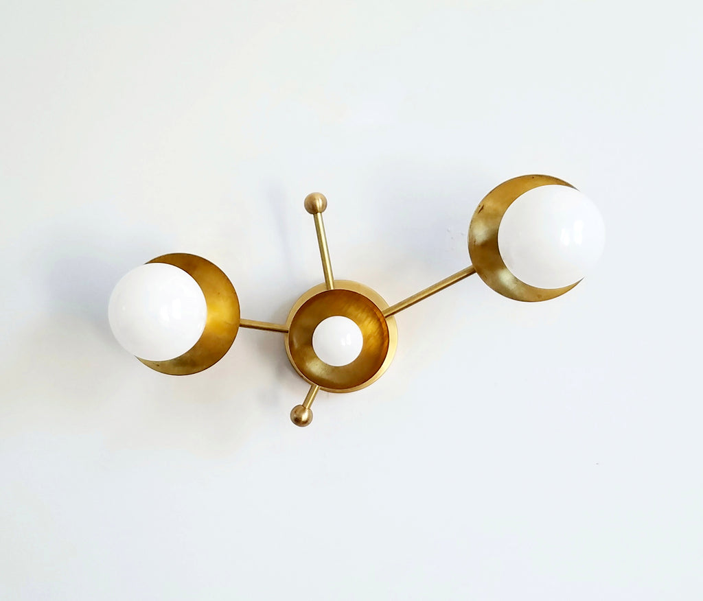 Zodiac lighting star constellation mid century modern industrial wall sconce flushmount ceiling light fixture brass finish astrology inspired