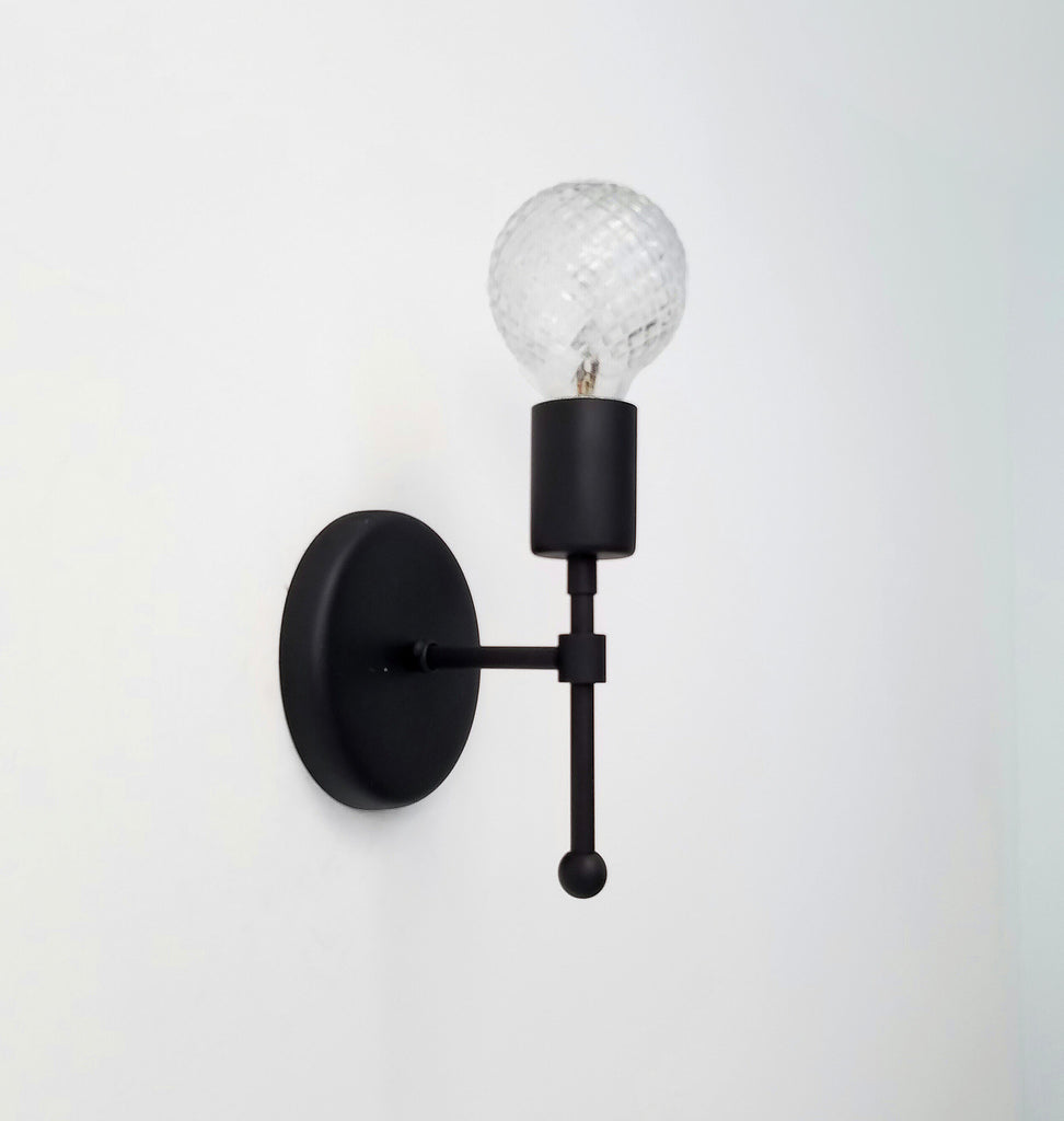 Camp sconce sazerac stitches matte black wall sconce bathroom lighting aloadofball Choice Image