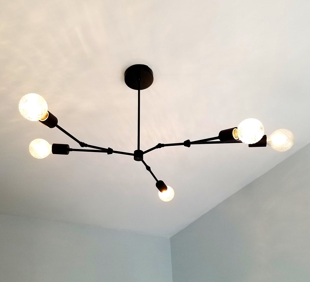 Linden chandelier modern 5 light asymmetric chandelier sazerac black modern asymmetric chandelier lighting mid century organic design home renovation dining room arubaitofo Gallery