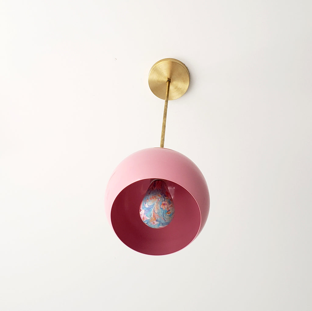 Light Pink and brass mid century inspired pendant light