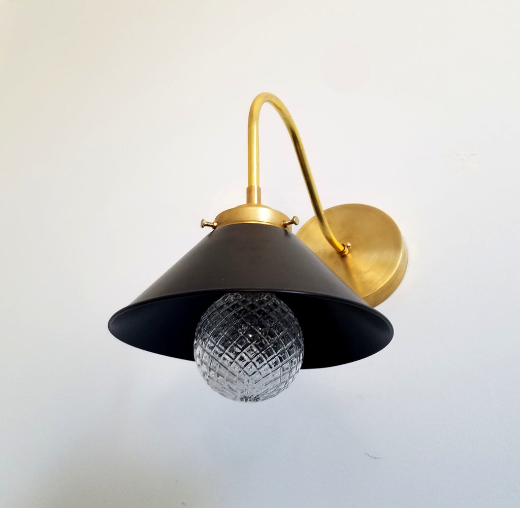 black and brass cone curved sconce open shelving lighting traditional black and gold wall lighting