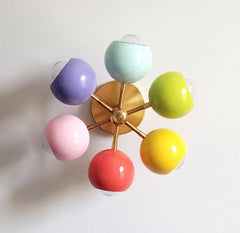 mid century modern lighting in rainbow colors