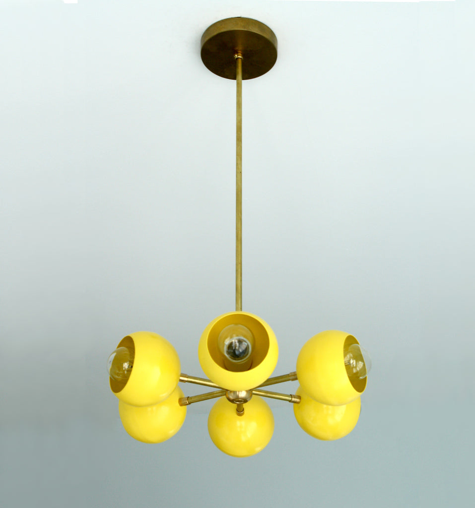yellow and brass carousel pendant chandelier modern lighting