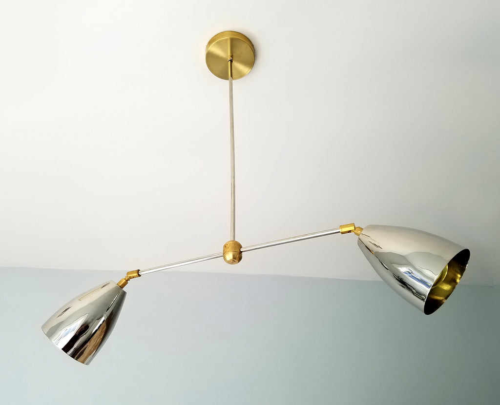 Chrome and Brass cone mid century modern contemporary sleek chandelier
