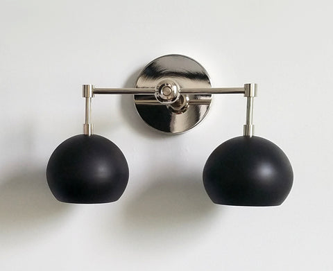 Double Loa Sconce with Black Shades