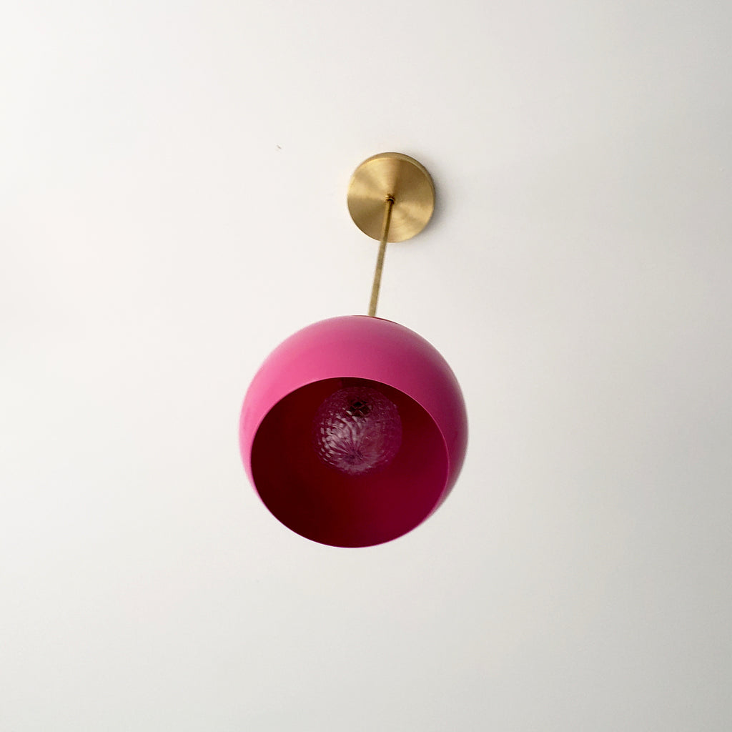 brass and bright pink midcentury modern MCM style chandelier pendant kitchen lighting
