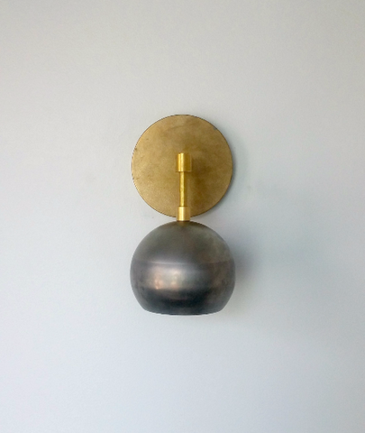 Loa Sconce with Raw Steel Shade