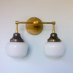 vintage style schoolhouse two light sconce raw brass school-house glass