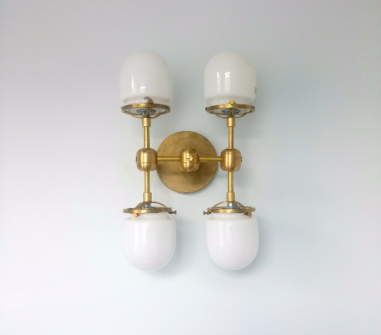 Four Post Ceiling fixture flushmount sconce modern brass lighting chrome bathroom sconce