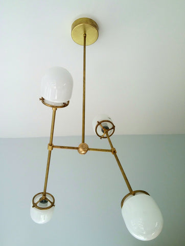 Emery Chandelier: Modern metal and glass adjustable chandelier