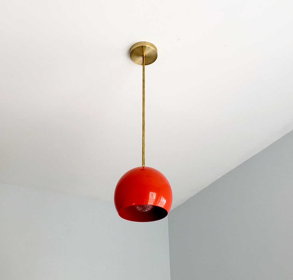 Orange Red and Brass Large Globe Pendant by Sazerac Stitches - midcentury modern design for kitchen renovations, bathroom remodels and more
