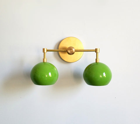 Double Loa Sconce with Spring Green Shades
