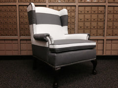 black and white traditional wingback chair striped modern furniture
