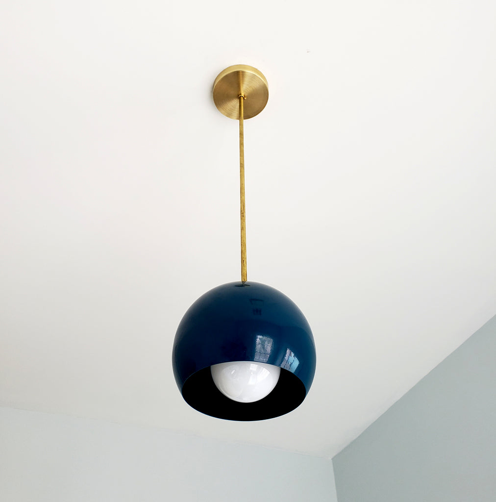 Brass and Blue green large globe pendant shade midcentury modern style