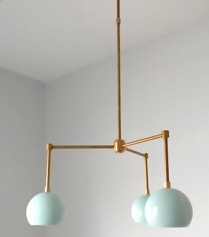 Loa Chandelier: 3-light modern raw brass or chrome chandelier with colored shades