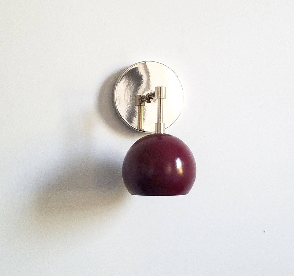 chrome and blackberry wall lighting sconce