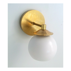 white and gold mid-century modern sconce MCM lighting sazerac stitches bathroom sconce