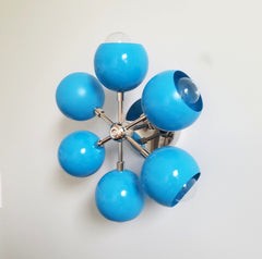 bright blue and chrome sconce ceiling fixture mid-century style home decor