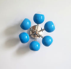 bright blue and chrome midcentury chandelier pendant light home decor nursery childrens design