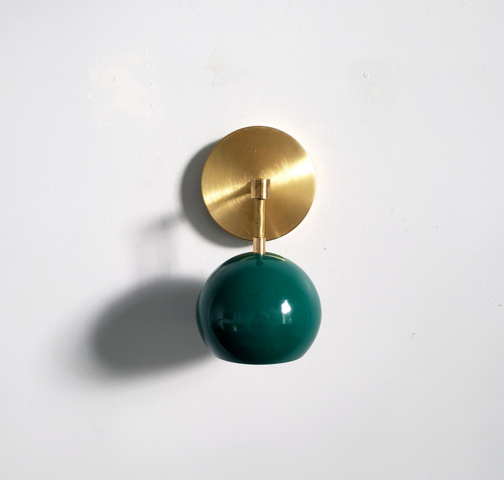 Brass and emerald green wall sconce mid century modern lighting accent light