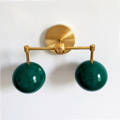 Brass and Emerald Green two light wall sconce vanity lighting midcentury modern inspired