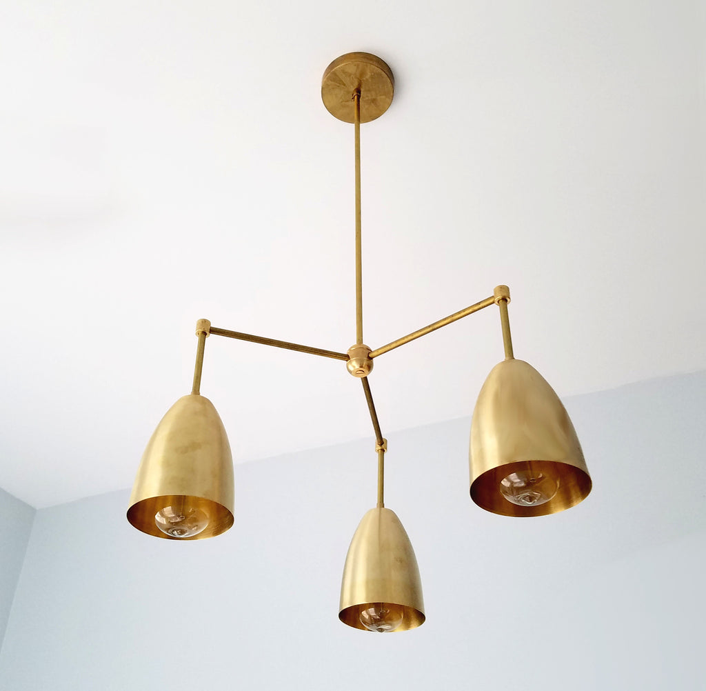 Michoud chandelier modern lighting brass chandelier cone chandelier mid-century modern MCM sazerac stitches