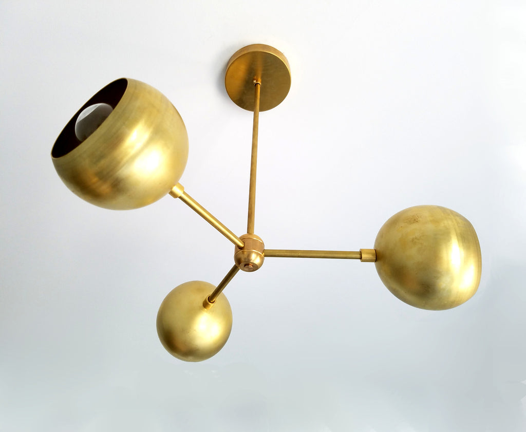 brass orb chandelier eyeball shade mid century modern ceiling lighting