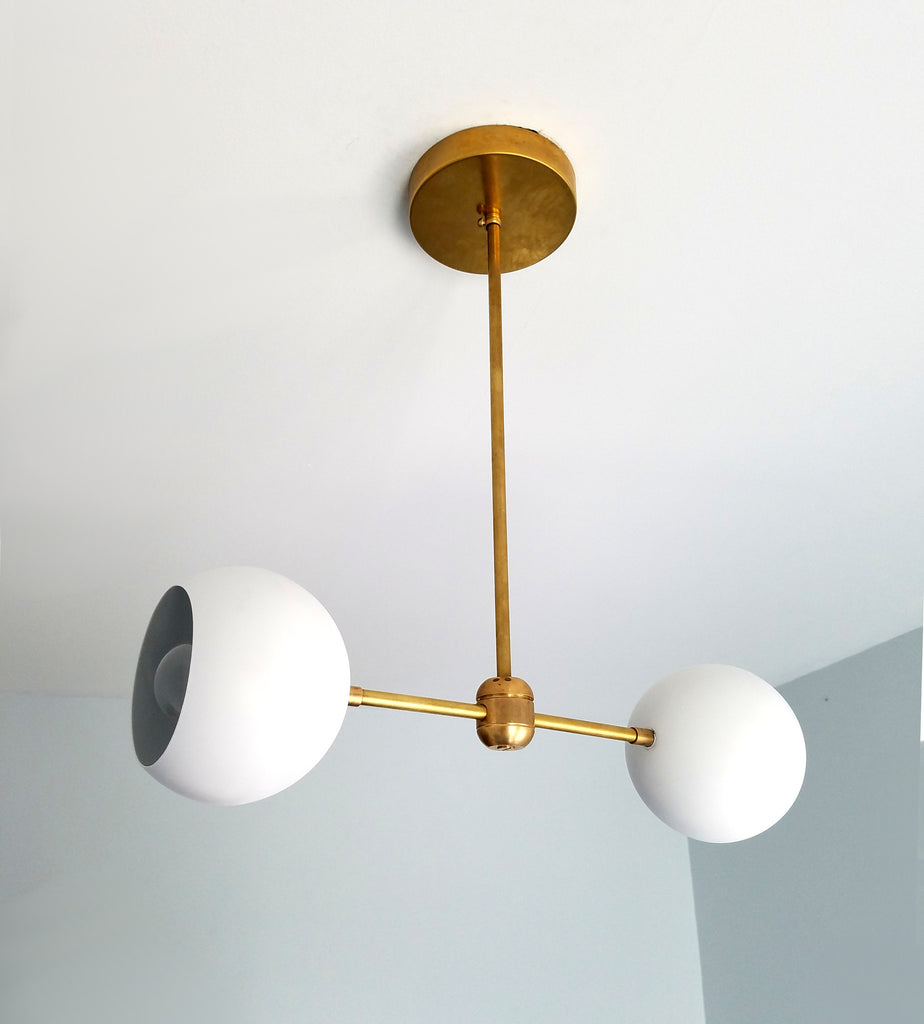 Modern White And Brass Globe Shade Pendant Light Small Chandelier