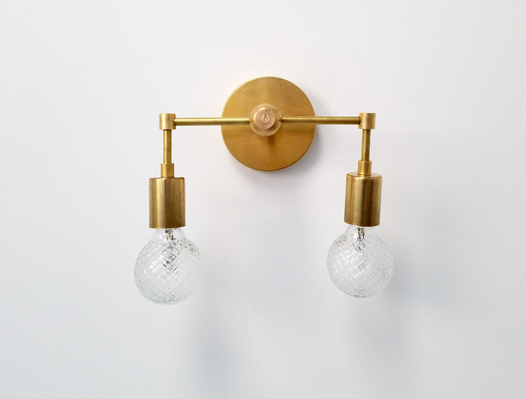 T Shaped wall sconce lighting brass modern contemporary