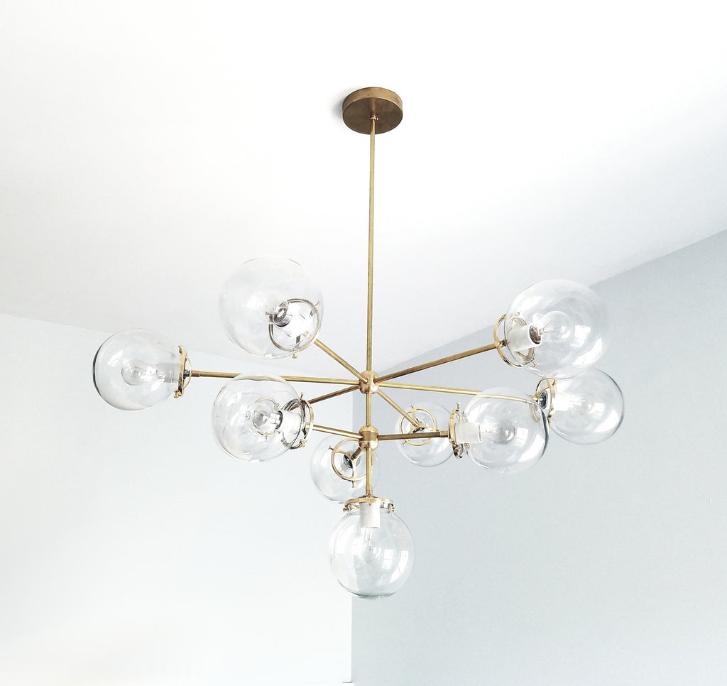 large handblown glass globes brass chandelier