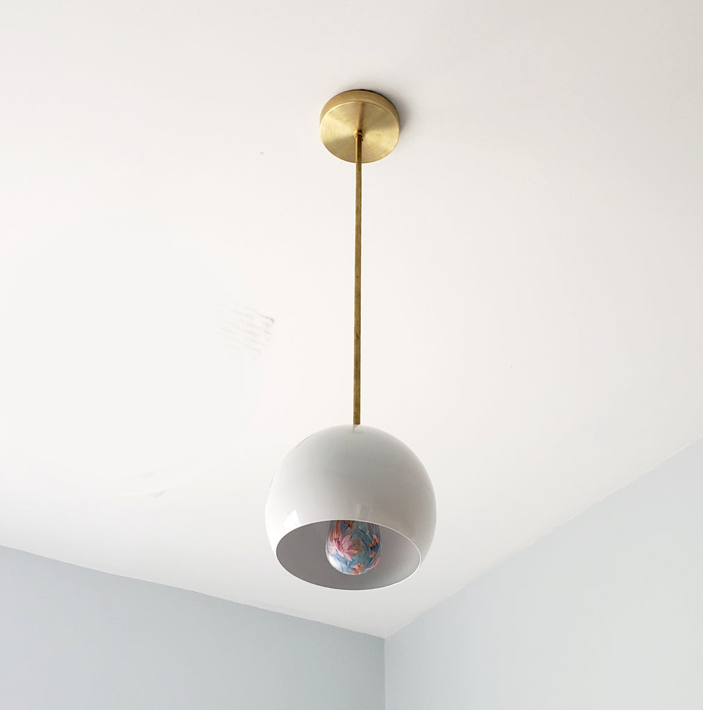Brass and White kitchen pendant lighting midcentury modern inspired globe shade