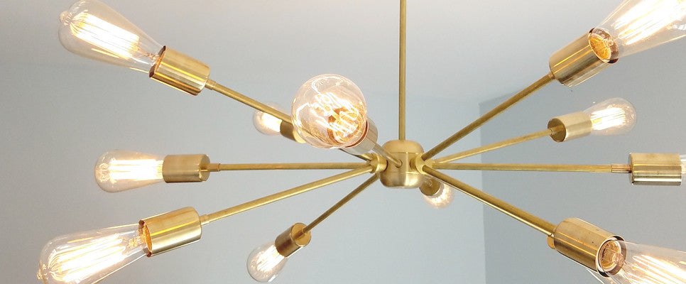 modern brass lighting, sazerac stitches, brass sputnik light, sputnik chandelier, brass chandelier, brass light fixture, Elsie chandelier, A Beautiful Mess, modern light fixtures, New Orleans