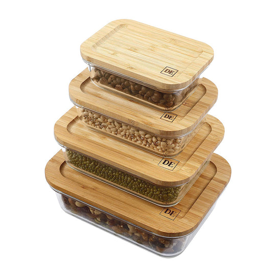DE Plastic-Free Glass Food Storage Containers with Eco-Friendly Bamboo Wooden Lids, Set of 4