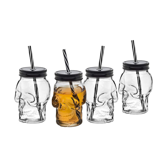 Skull Mason Jar Mug Glass Tumbler Cup with Cover and Straw - 16oz, Set of 4