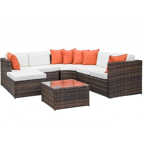 5-Piece Patio Furniture Sofa Set Wicker Chair For Outdoor ...