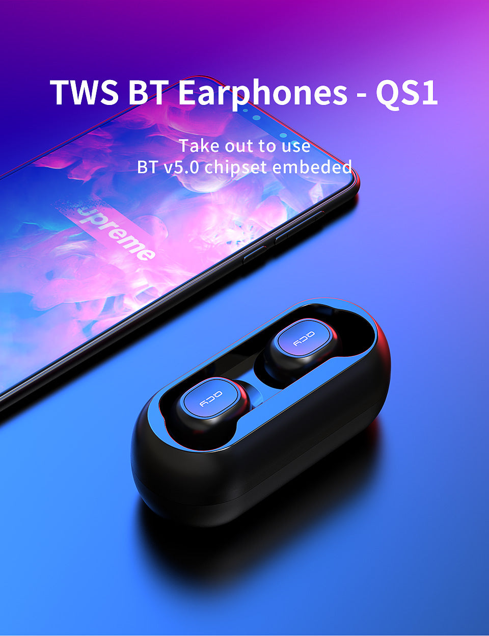 AMAZING, QCY qs1 TWS 5.0 Bluetooth headphone 3D stereo wireless earphone with dual microphone