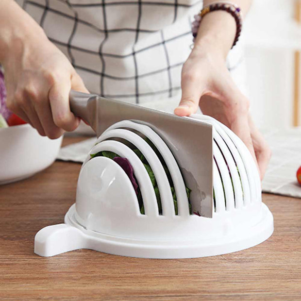 A Salad Cutter Bowl Diy Vegetable Fruits Slicer Chopper Washer And Cutter Quick Salad Maker Kitchen Gadget Home Tools