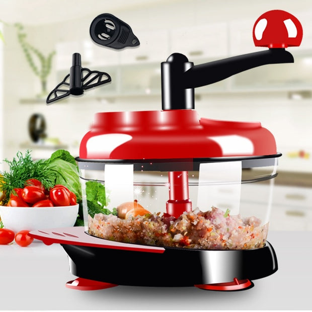 Just online High-capacity Multi-function Kitchen Manual Food Processor Meat Grinder Vegetable Chopper Shredder Cutter Egg Blender