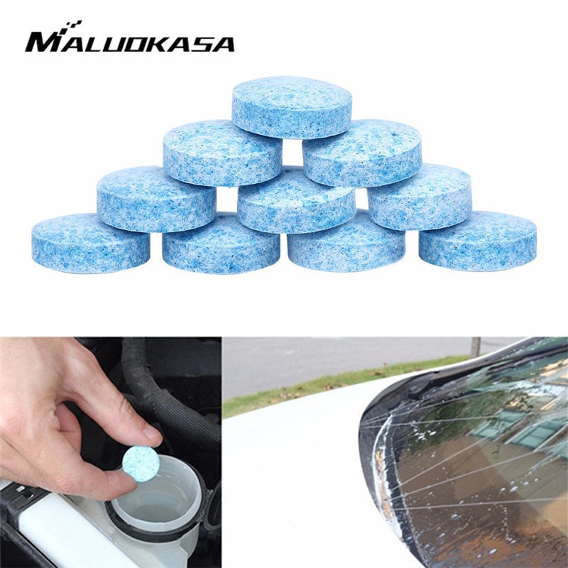 Get 10Pcs Car Solid Cleaner Concentrated Effervescent Tablets 1Pc=4L Windshield Solid Washer