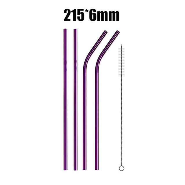 4/8Pcs Reusable Drinking Straw High Quality 304 Stainless Steel Metal Straw with Cleaner Brush (40% OFF)
