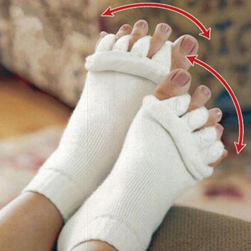 Excellent Quality Men women Socks Sleeping Health Foot Care Massage Toe Socks Five Fingers Toes Compression Treatment