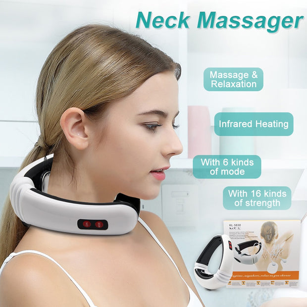 GREAT, Electric Pulse Back and Neck Massager Far Infrared Heating Pain Relief Tool Health Care Relaxation