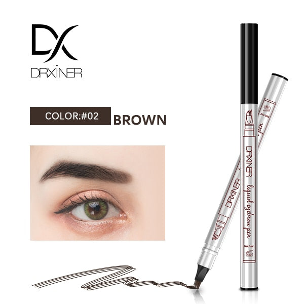 24 Hours Waterproff Long Lasting Colors 4 Head Eyebrow  Pencil Waterproof Microblading Eyebrow Thin Tattoo Pen