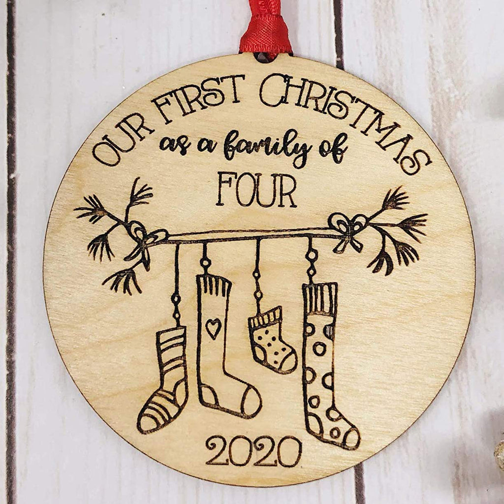 Our First Christmas as a Family of Four 2020 Christmas Ornament