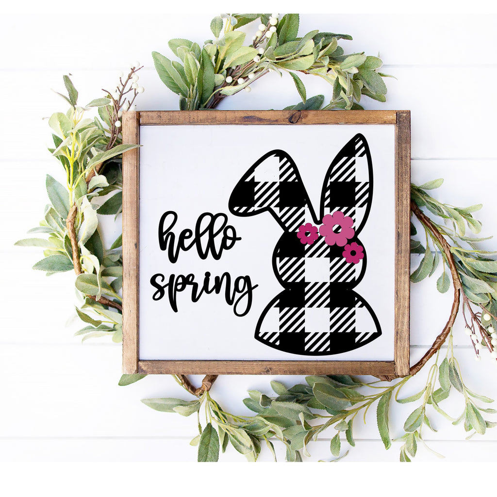 Hello Spring 3D Sign - Houndstooth Bunny Farmhouse Style